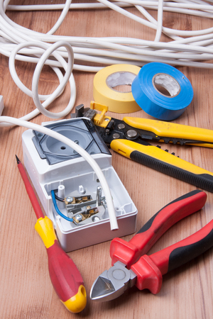 pressurized: Electric devices and accessories during cables and fuses instalation Stock Photo