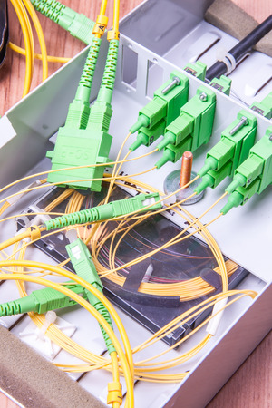 patch panel: Fiber optic device ready for packet data  transmission Stock Photo