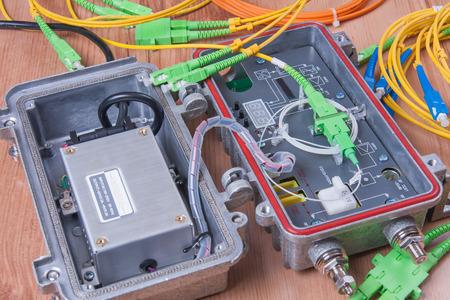 media distribution: Fiber optic device ready for packet data  transmission Stock Photo