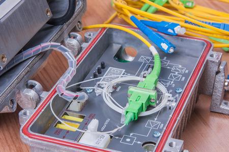 converter: Fiber optic device ready for packet data  transmission Stock Photo