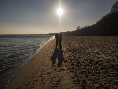 baltic people: A pair of elderly people on a walk by the sea Baltic Stock Photo