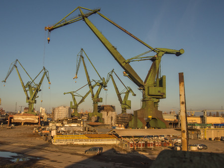 erecting: Gdask, Poland - September 27, 2015: Huge harbor cranes in the port of Gdask