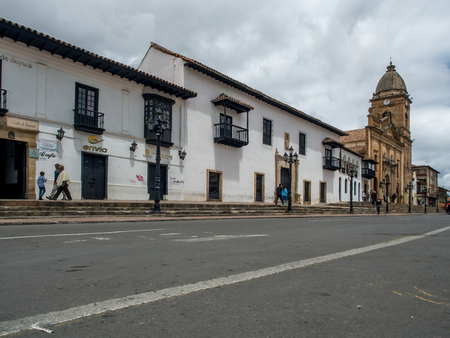 Tunja, Colombia - May 02, 2016: The inhabitants of the  town and the tourists on the main square of the town.