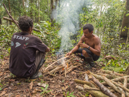 comely: Lagoon of Jaguar, Brazil - May 7, 2016: Picnic in the Amazons jungle