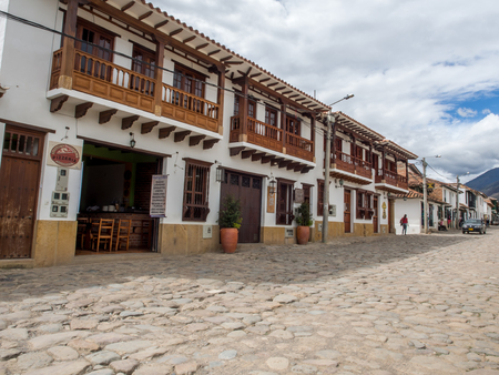 comely: Villa de Leyva, Colombia - May 02, 2016: Beautiful and antique architecture of the city Editorial