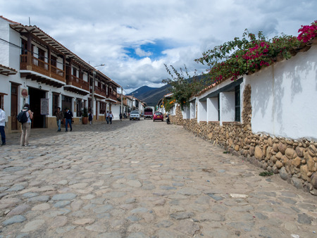 Villa de Leyva, Colombia - May 02, 2016: The cobbled and antique  street of the city Editorial