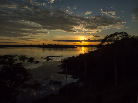 Palmari, Brazil - May 05, 2016: Beatiful, corolful and diversified landscape over the Javari river Editorial