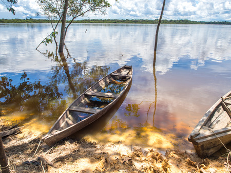 Palmari, Brazil - May 6, 2016: Traditional, indian  boats  on the bank of the river