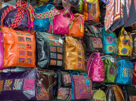 comely: Bogota, Colombia - May 02, 2016: Colorful handicraft on the stalls