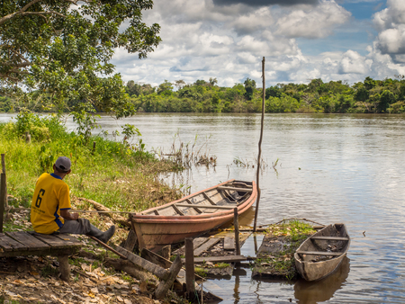 Santa Rita, Peru - May 9, 2016: Traditional, indian  boats  on the bank of the river Editorial