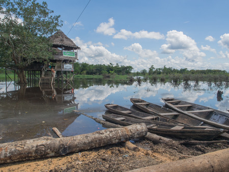 birchbark: Santo Tomas, Peru  - May 17, 2016: Traditional, indian  boats  on the bank of the river Editorial