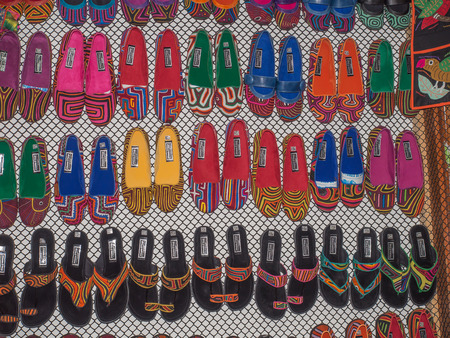 Bogota, Colombia - May 02, 2016: Colorful handicraft on the stalls