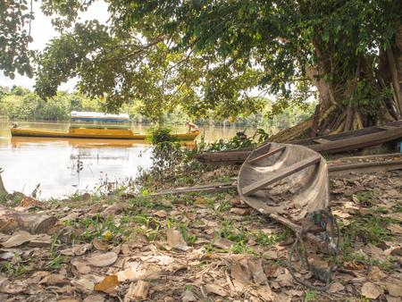 birchbark: Santa Rita, Peru - May 9, 2016: Traditional, indian  boats  on the bank of the river Editorial