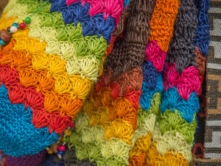 holdall: Bogota, Colombia - May 02, 2016: Colorful handicraft on the stalls