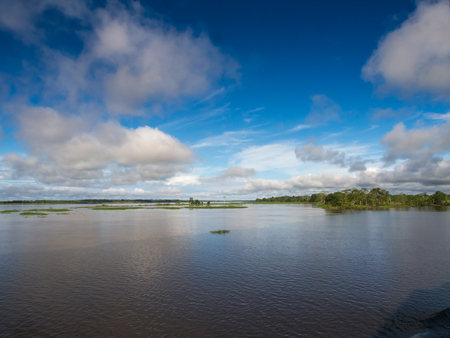 Amazon River, Peru - May 13, 2016: View of the Amazon River from the cargo boat.
