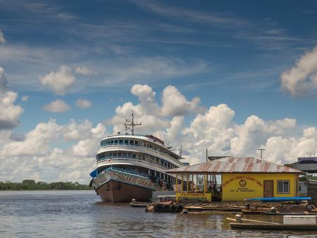 rosa: Santa Rosa, Peru - May 10, 2016: Port in Santa Rosa for Ferry and Slow Boat