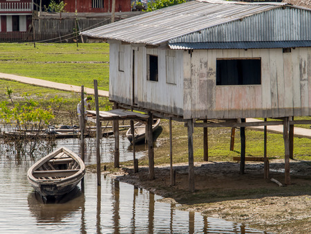 samll: Amazon River, Peru - May 13, 2016:  Small village on the bank of the Amazon River