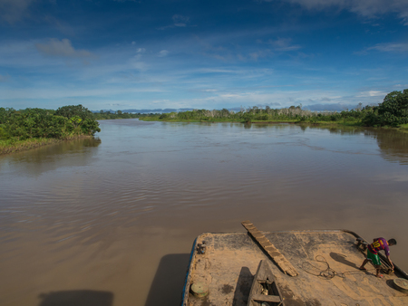 rio amazonas: Amazon River, Peru - May 12, 2016: View of the Amazon River from the cargo boat. Editorial
