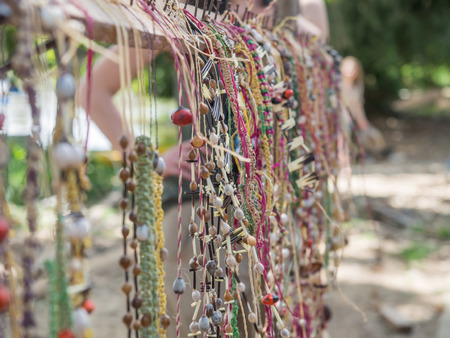 comely: Santa Rita, Peru - May 9, 2016: Colorful handicraft form natural materials on the stalls in the small Peruvian village Editorial
