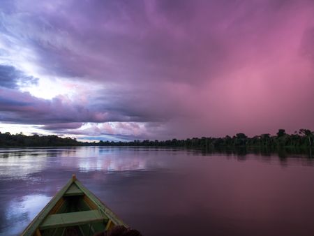 Palmari, Brazil - May 05, 2016: Beatiful, corolful and diversified landscape over the Amazon river