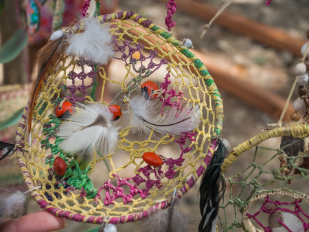 Santa Rita, Peru - May 9, 2016: Colorful handicraft form natural materials on the stalls in the small Peruvian village Editorial