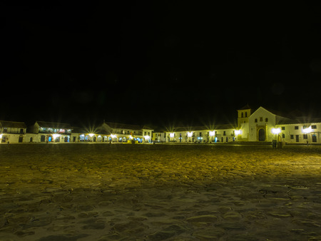 Villa de Leyva, Colombia - May 02, 2016: The main square of the town by night