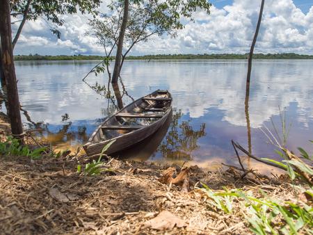 birchbark: Palmari, Brazil - May 6, 2016: Traditional, indian  boats  on the bank of the river