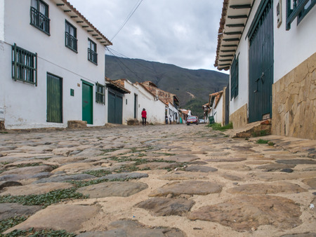 comely: Villa de Leyva, Colombia - May 02, 2016: The cobbled and antique  street of the city Editorial