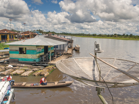 constant: Benjamin Constant, Brazil - May 10, 2016: Floating houses on Amazon River.