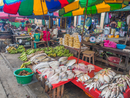 fling: Iquitis, Peru - May 15, 2016: Market with various types of meat, fish and and fruits. Stock Photo