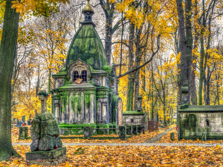 Warsaw, Poland - October 31, 2016: Large tomb on the old, monumental, Orthodox cemetery