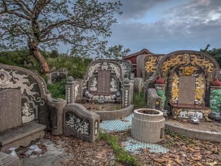 Tainan, Taiwan- October 10, 2016: Taiwanese cemetery in Tainan city.