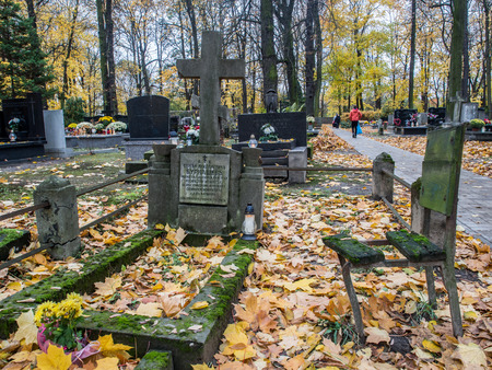 Warsaw, Poland - October 31, 2016: Autumn on the old, monumental, Orthodox cemetery