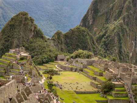 Machu Picchu, Peru - May 22, 2016:  View of Machu Picchu ancient inca town.