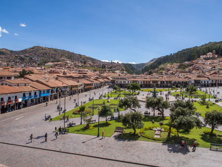 Cusco, Peru - May 22, 2016, View ofthe main square at In Cusco from tower Editorial