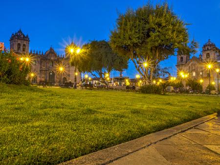 cusco province: Cusco, Peru - May 22, 2016, Main square at dusk. Plaza de Armas