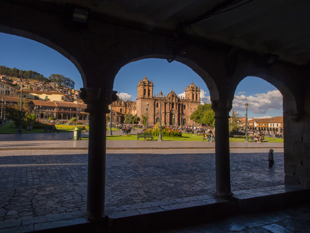 Cusco, Peru - May 22, 2016, Cathedral at Plaza de Armas square Editorial