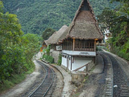 Agua Calientes, Peru - May 21, 2016:, Hotel and coffee house near the  train station in Agua Calientes