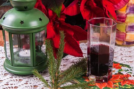 three cornered: Borscht Tortellini. A traditional Polish Christmas dish on a table.