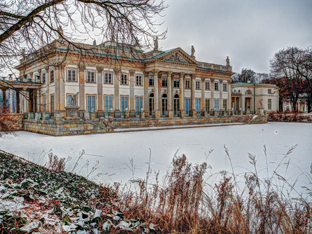 """antiques: Warsaw, Poland - January 01, 2016: A View of the """"Palace on the Water"""" in the Royal """"Lazienki"""" park during  hard frosts in winter"""