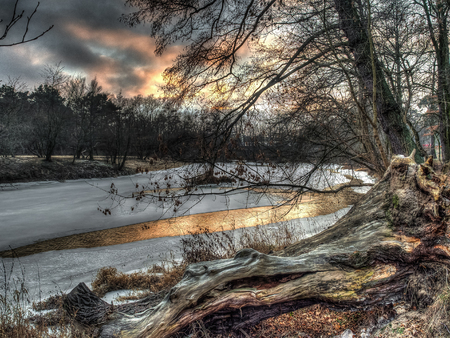 inter: The view from the shore through the branches of a tree  over a  partially frozen river. Poland. Józefów