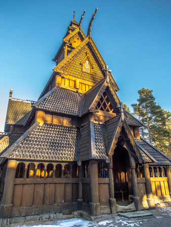 oslo: Bygdøy, Norway - February  23, 2016: The Stave Church from Gol in Oscar IIs Collection. Haakon Harriss, Norsk Folkemuseum Editorial