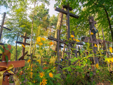 Grabarka, Poland - August 14, 2016: Holly crosses brought by pilgrims to the Holy Mount Grabarka.