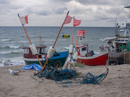 Chlopy, Poland - July 29, 2016, Fish Nets and boxes in a fishing port