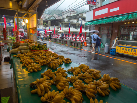 palate: Wulai, Taiwan - October 09, 2016: Typical local bazaar in Taiwan with lots of local products