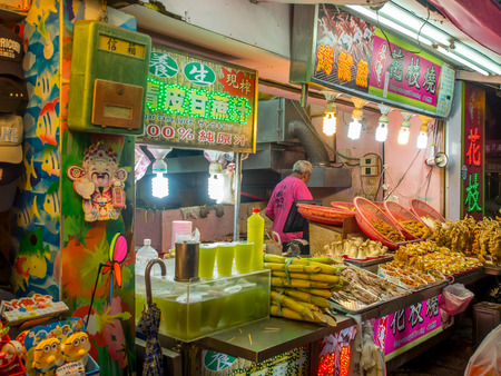 Tamsui, Taiwan - October 03, 2016: Typical local bazaar in Taiwan with lots of local products