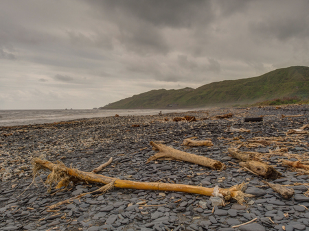 Beach near Suao Town in  Taiwan with garbage after the Taiphoon