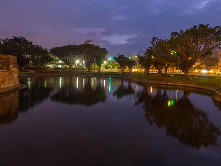 Tainan, Taiwan - October 10, 2016: Anping small fort at night