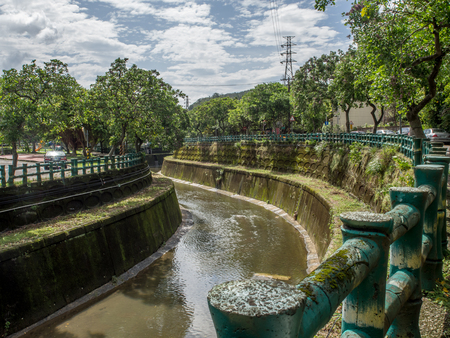 Taipei, Taiwan - October 20, 2016: Concrete flood channels in Taipei