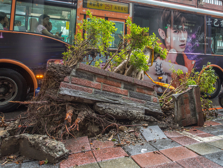 Taipei, Taiwan - October 08, 2016: Fallen building wall and uprooted trees, Typhoon effect on a street in Taipei